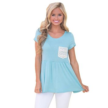 Blue Lace Pocket Patch Babydoll Blouse Top