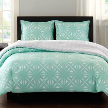 Echo Design™ Lattice Geo Reversible Comforter Set in Aqua