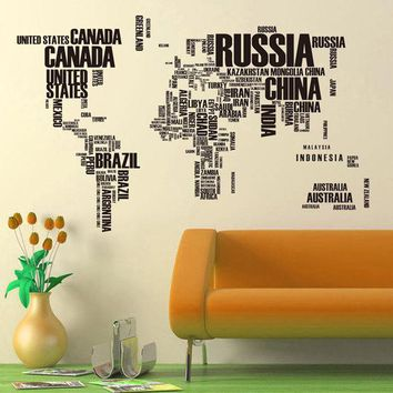 Best world map vinyl wall decal products on wanelo dck9m2 hot pvc wall stickers letter world map quote removable vinyl decal mural home decor stickers gumiabroncs Images