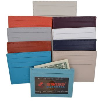 Swiss Marshal Slim Thin ID Credit Card Money Holder Genuine Leather Wallet SM-P270