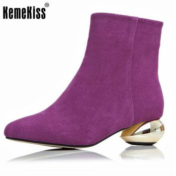 Brand New Women Real Natrual Genuine Leather Ankle Boots Woman Square Toe Botas Women Stylish Heels Shoes Size 34-43