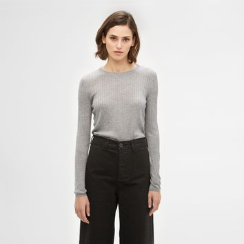 Lightweight Cashmere Crewneck - Light Grey