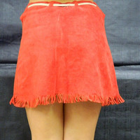 Red Leather Cowboy Skirt, Texas Lone Star, Red & White, Mini Skirt, Cowgirl Leather Skirt, Wild West, Halloween Costume
