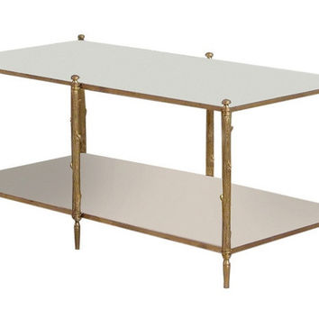 Global Views | Arbor Cocktail Table-Brass and White Marble