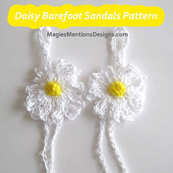 Crochet Pattern Barefoot Sandals Daisy Flower - Beach Sandals Wedding Sandals One Size Fits Tweens, Teens and Women PDF Instant Download