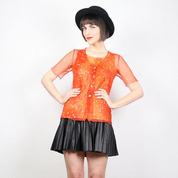 Vintage Orange Shirt Sheer Mesh 1990s 90s Club Kid Top Tank Top Raver New Wave Floral Paisley Daist Button Up Rave Top Tangerine S Small
