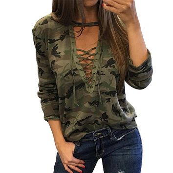 2017 Women Camouflage Sweatshirt V-Neck Hoodies Pullovers Female Long Sleeve Bandage Tracksuits Jumper Tops Sudaderas Mujer