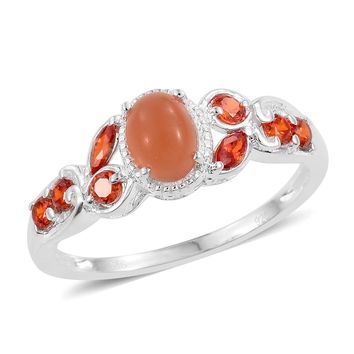 Peach Moonstone Sterling Silver Ring