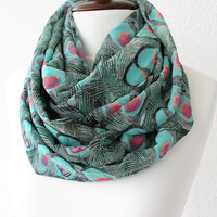 NEW Peacock Pattern Infinity Scarf - Loop Scarf - Circle Scarf - Cowl Scarf - Soft and Lightweight