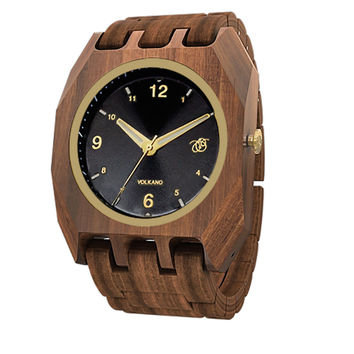 Mistura Volkano Unisex Watch Black Dial Pui Wood Brown Strap