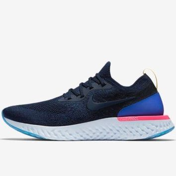 Nike EPIC REACT FLYKNIT UK 8 EU 42.5 College Navy / Racer Blue