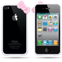 CoverON(TM) Hard WHITE BUMPER Case with PINK BOW Design Frame Cover for APPLE IPHONE 4 / 4S [WCP799]