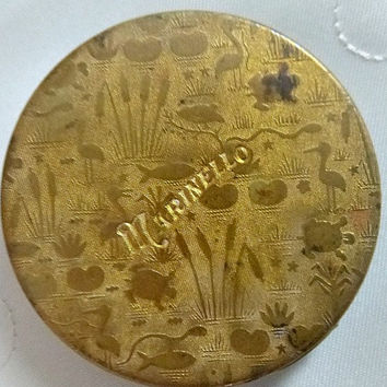 RARE Art Deco MARINELLO 1920's Compact Face Powder Gold Embossed Marsh Animal Scene Vanity Case Vintage Beauty Compacts Powder Box