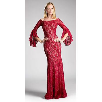 Off-the Shoulder Long Formal Dress Bell Sleeves Burgundy