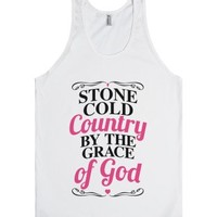 Stone Cold Country By The Grace Of God-Unisex White Tank