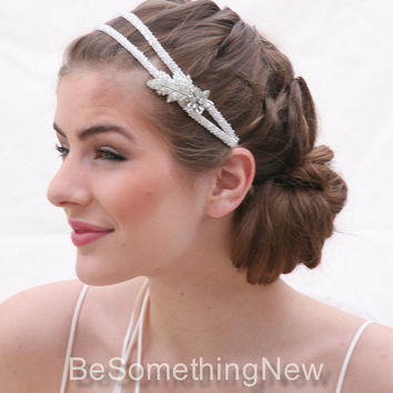 Silver Beaded Double Tie Wedding Headband Vintage Rhinestone Leaf and Flower Wedding Hair Accessory Wedding Headpiece Bridal Headband