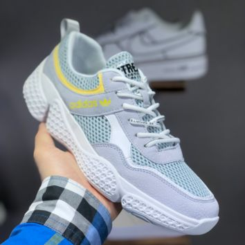 hcxx A1477 Adidas Boost Breathable Mesh Running Shoes Gray Yellow