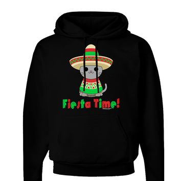 Fiesta Time - Cute Sombrero Cat Dark Hoodie Sweatshirt by TooLoud