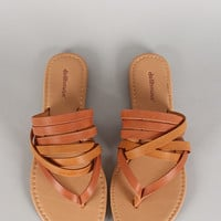 Dollhouse Leatherette Strappy Thong Flat Sandal