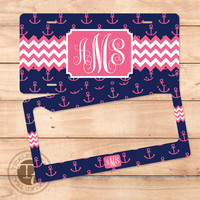 Nautical Anchor - Monogram License Plate or License Frame - Choose your Color - Tickled Teal