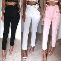 New Women High Waist Pants Women looks Slim &Skinny Pure Color Leggings Stretchy Comfortable Clothes Fashion Pencil Pants Ruffle