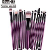 Professional 15Pcs Cosmetic Makeup Brush Women Foundation Eyeshadow Eyeliner Lip Brand Make Up Eye Brushes Set