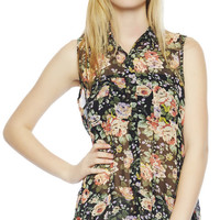 Floral Chiffon Shirt | Wet Seal