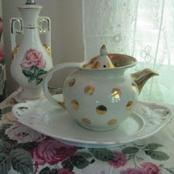 Hall Windshield Teapot with Gold Dots  Shabby by PerfectPieLady