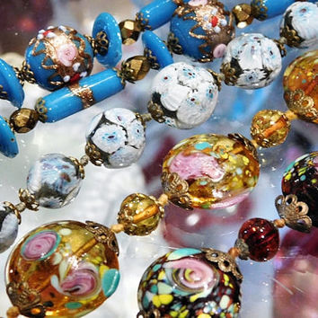 1940s Venetian Murano Millifiori Necklaces Art Glass Beads 4 Necklaces ALL One Money AS IS Supplies Crafts Reuse Recycle Detash Repurpose