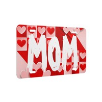 Mom Love Hearts Red White License Plate Cover
