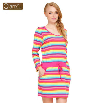Qianxiu Nightgown For Women Summer Cotton Stripes Skirts Plus Size  Nightgown
