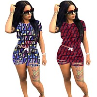 Fendi Fashion New Summer More Letter Print Short Sleeve Top And Hole Shorts Sports Leisure Two Piece Suit
