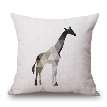 Nordic Giraffe Geometric Animals Pillow Case