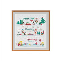 Winter cross stitch, Seasons cross stitch, Four Seasons Cross Stitch, December cross stitch, January cross stitch, February cross stitch PDF