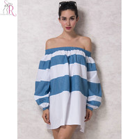 White & Blue Color Block Stripe Off the Shoulder Puff Sleeve Loose Mini Shirt Dress