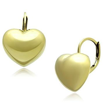 Puffed Heart Leverback Yellow Gold IP Stainless Steel Earrings
