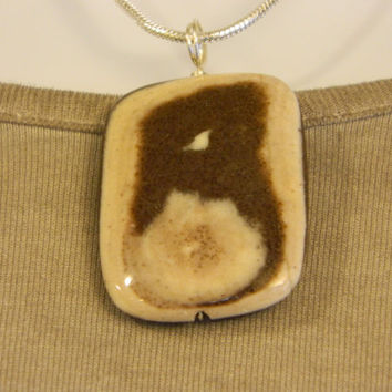 90ct. Brown and Tan Stone, Semi Precious, Agate, Pendant, Necklace, Rectangle, Natural Stone, 110-15