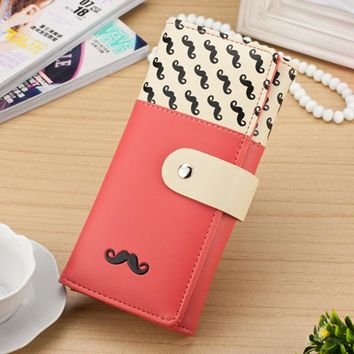 pop Tides Smooth Long PU Leather Women Wallets Cute Mustaches Fashion Purse Female Clutches Coin And Cards Holder Purses Bags