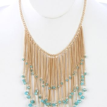 Teal Long Chain Fringe Bib Iridescent Glass Bead Charm Necklace