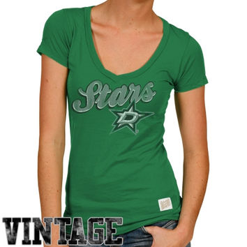 Original Retro Brand Dallas Stars Ladies Deep V-Neck Slim Fit T-Shirt - Green
