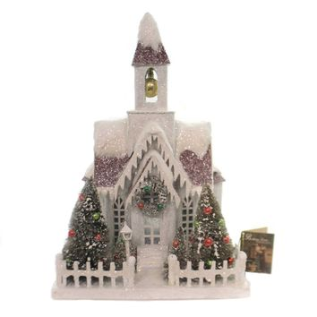 Christmas VINTAGE PUTZ CHRISTMAS CHURCH Paper Vintage Houses Lc4590