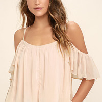 Got Me Moving Blush Pink Off-the-Shoulder Top