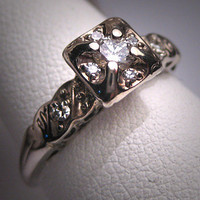 Antique Diamond Wedding Ring Vintage Art Deco Bridal