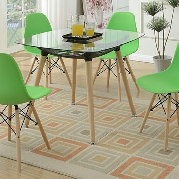 Poundex F2459-1746 5 pc Mid Century collection square glass top and green plastic seat dining table and chairs