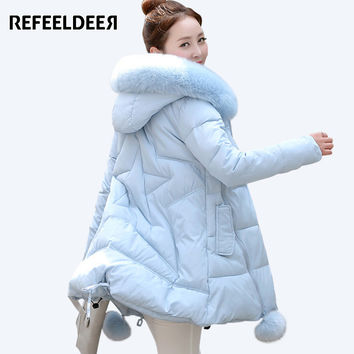 Women's Thick Warm Long Winter Jacket Women Parkas 2017 Faux Fur Collar Hooded Cotton Padded Winter Coat Female Manteau Femme