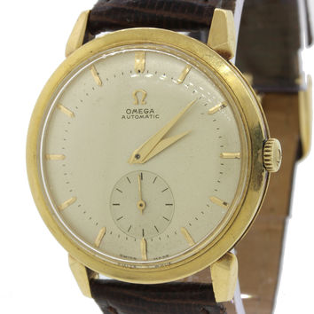 Vintage Omega Solid 18k Yellow Gold 35mm Bumper Automatic Silver Dial Watch