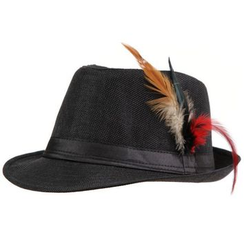 Side Feathered Fedora Hat