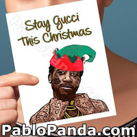 Christmas Cards | Gucci Mane | Husband Gift Boyfriend Gift Friendship Cards Cheeky Christmas Gift For Women Rapper Christmas Funny Xmas Card