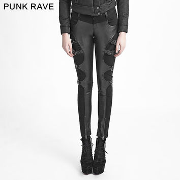 !Punk Goth Victorian Novelty Rock Cosplay Party Metal Tight Pants Trousers S-XXL