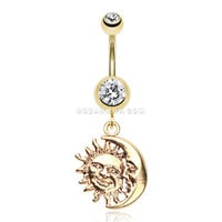 Golden Sun & Moon Union of Opposites Belly Button Ring (Clear)